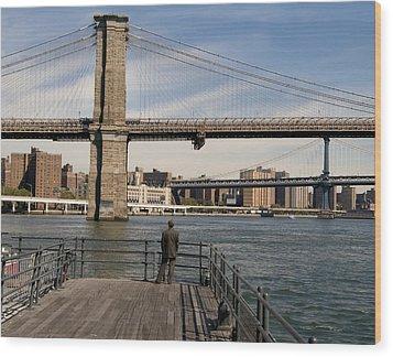 Brooklyn Bridge  Wood Print by Andrew Kazmierski
