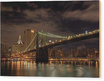 Brooklyn Bridge At Dusk Wood Print