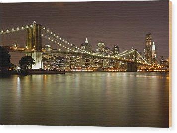 Brooklyn Bridge At Night 10 Wood Print