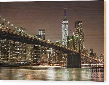 Brooklyn Bridge At Night Wood Print