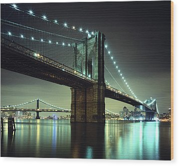 Brooklyn Bridge At Night, New York City Wood Print by Andrew C Mace