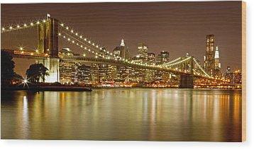 Brooklyn Bridge At Night Panorama 10 Wood Print