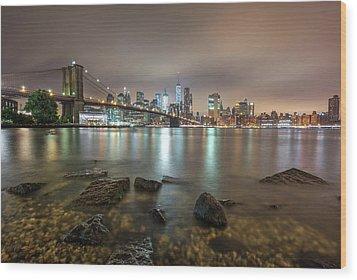 Wood Print featuring the photograph Brooklyn Bridge At Sunrise  by Emmanuel Panagiotakis