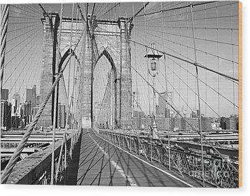 Brooklyn Bridge Deck Wood Print by Andrew Kazmierski
