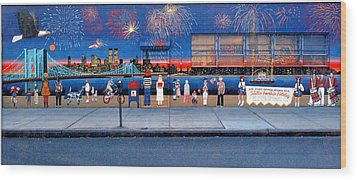 Brooklyn Bridge Fireworks Wood Print by Bonnie Siracusa
