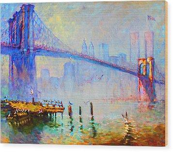 Brooklyn Bridge In A Foggy Morning Wood Print by Ylli Haruni