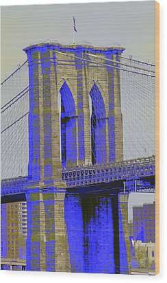 Brooklyn Bridge In Blue Wood Print by Christopher Kirby