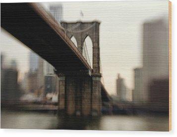 Brooklyn Bridge, New York City Wood Print by Photography by Steve Kelley aka mudpig