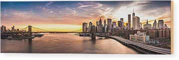 Brooklyn Bridge Panorama Wood Print