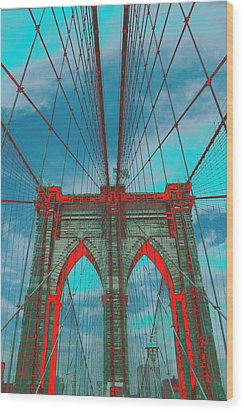 Brooklyn Bridge Red Shadows Wood Print by Christopher Kirby