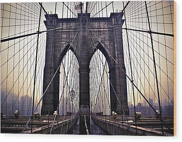 Brooklyn Bridge Suspension Cables Wood Print by Ray Devlin