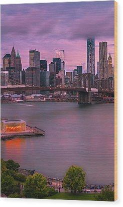 Wood Print featuring the photograph Brooklyn Bridge World Trade Center In New York City by Ranjay Mitra