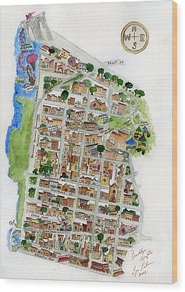 Brooklyn Heights Map Wood Print