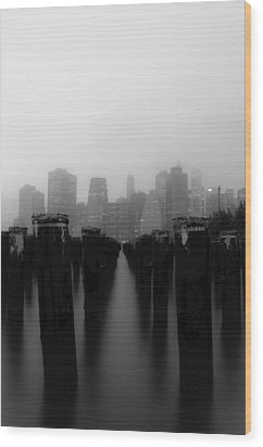 Brooklyn Pilings Wood Print by Jose Vazquez