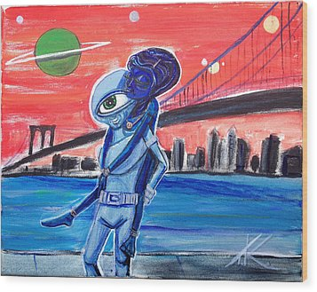 Brooklyn Play Date Wood Print by Similar Alien