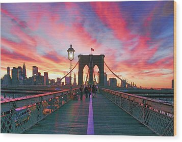 Brooklyn Sunset Wood Print by Rick Berk