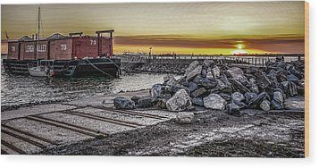Brooklyn Waterfront Sunset Wood Print