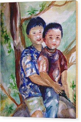 Brothers Bonding Wood Print by Matthew Doronila