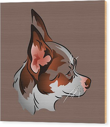 Brown And White Chihuahua In Profile Wood Print by MM Anderson