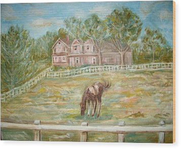 Brown And White Horse Wood Print by Joseph Sandora Jr