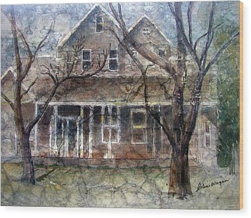 Brown Batik House Wood Print by Arline Wagner
