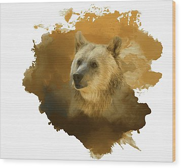 Wood Print featuring the painting Brown Bear by Steven Richardson