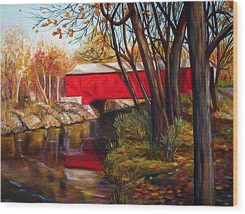 Brown County Bridge Wood Print by Dorothy Riley