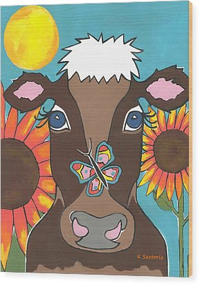 Brown Cow Wood Print