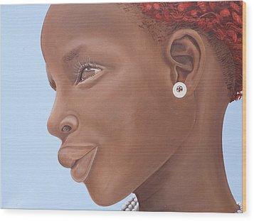 Brown Introspection Wood Print by Kaaria Mucherera