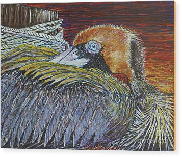 Brown Pelican Wood Print by David Joyner