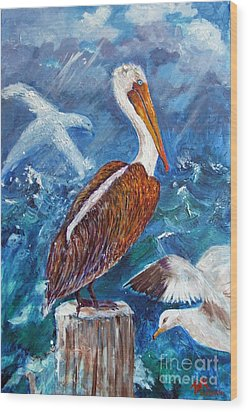Brown Pelican With Gulls Wood Print