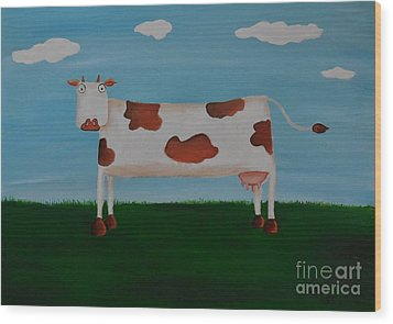 Brown Spotted Cow Wood Print