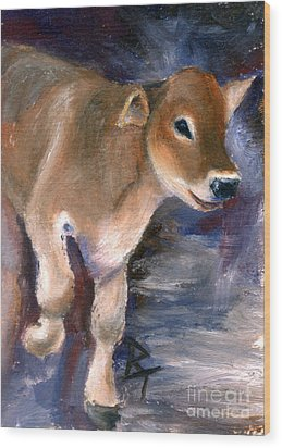 Brown Swiss Calf Aceo Wood Print