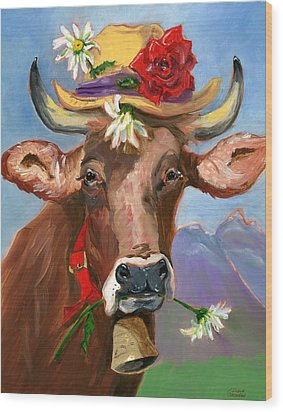 Wood Print featuring the painting Brown Swiss In Summer Hat by Susan Thomas