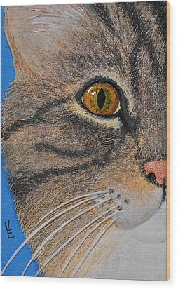Brown Tabby Cat Sculpture Wood Print by Valerie  Evanson