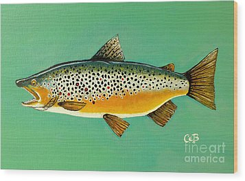 Wood Print featuring the painting Brown Trout by Chad Berglund