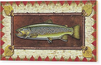 Brown Trout Lodge Wood Print by JQ Licensing