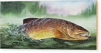 Brown Trout Taking A Fly Wood Print