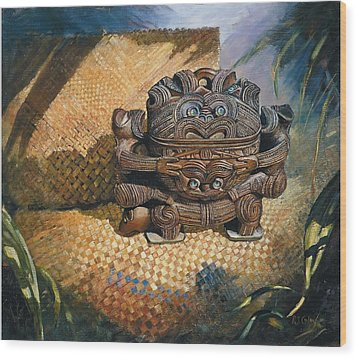brown Wakahuia Wood Print by Peter Jean Caley
