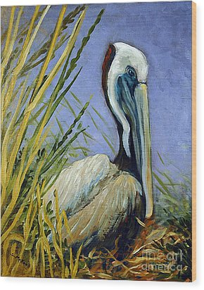 Wood Print featuring the painting Brownie Nesting by Suzanne McKee