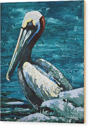 Wood Print featuring the painting Brownie On A Seawall by Suzanne McKee