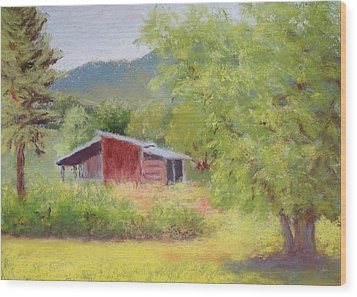 Wood Print featuring the painting Brown's Shed by Nancy Jolley