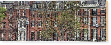 Wood Print featuring the photograph Brownstone Panoramic - Beacon Street Boston by Joann Vitali