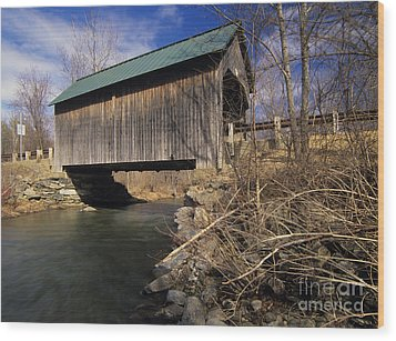 Brownsville Covered Bridge - Brownsville Vermont Wood Print by Erin Paul Donovan