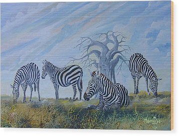 Wood Print featuring the painting Browsing Zebras by Anthony Mwangi