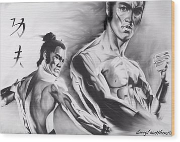 Bruce Lee Wood Print by Darryl Matthews