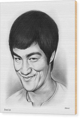 Bruce Lee Wood Print by Greg Joens