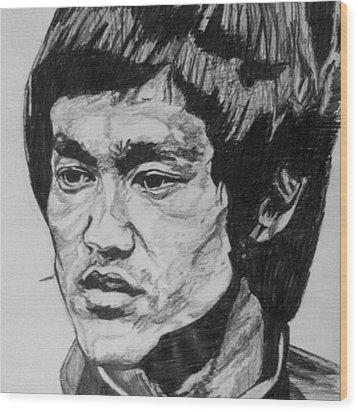 Bruce Lee Wood Print by Rachel Natalie Rawlins