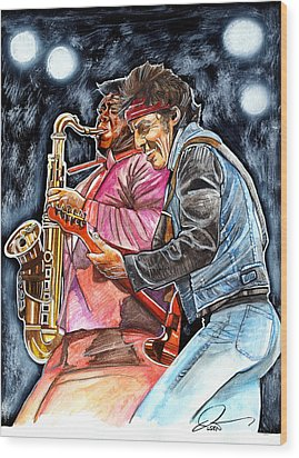 Bruce Springsteen And Clarence Clemons Wood Print by Dave Olsen