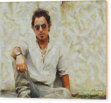 Bruce Springsteen Wood Print by Elizabeth Coats